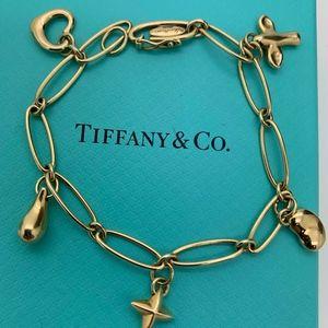 """Tiffany & Co.18KT Five Charms Bracelet 7"""" Long"""